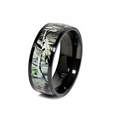 KingswayJewelry 3pc Sterling Silver Heart Stone Ring and Titanium Camo Band #RWC06SP08-2 (Size Men 9; Women 7) by KingswayJewelry (Image #2)