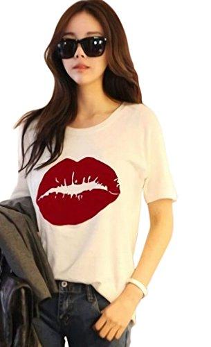 オーバーフロー延ばすコンパニオンPlus Nao(プラスナオ) Tシャツ 半袖 ラウンドネック レディース トップス カットソー リップ 唇 キスマーク プリントTシャツ おしゃれ カジ