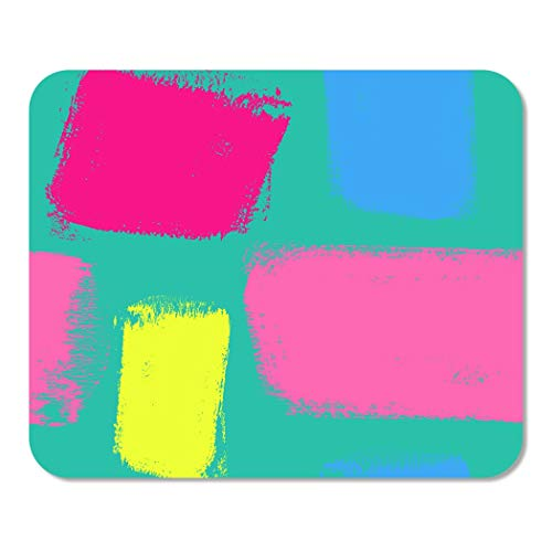 Suike Mousepad Computer Notepad Office Blue Paint Dry Brush Sketch Artsy in Bright Neon Colors Hot Pink Strokes and Swirls Home School Game Player Computer Worker 9.5x7.9 Inch ()