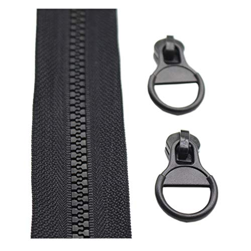 (YaHoGa #5 Plastic Zipper by The Yard Bulk Black 5 Yards with 10pcs Ring Sliders for DIY Sewing Tailor Crafts Bags Tents (5 Yards))