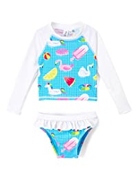 Ingear Toddlers & Baby Girls Swimsuit Two-Piece Tankini Rash Guard Set UPF 50+ UV Swim Shirt Bikini Swimsuit