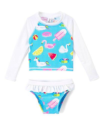 Price comparison product image Toddlers & Baby Girls Swimsuit Two-Piece Tankini Rash Guard Set UPF 50+ UV Swim Shirt Bikini Swimsuit (White, 2T)