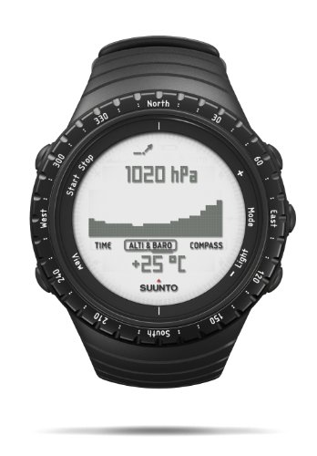 SUUNTO Core Regular Black Digital Display Quartz Watch, Black Elastomer Band, Round 49.1mm ()