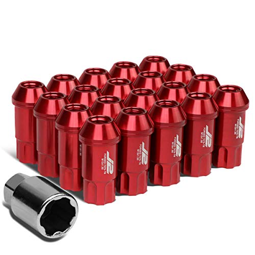 - J2 Engineering 7075 Forged Aluminum M12X1.5 20Pcs 50mm Long Open End Lug Nut Set w/Turner (Red)