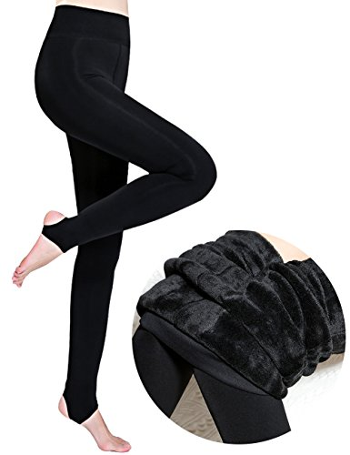 CHRLEISURE Womens Winter Thick Velvet Leggings Warm Solid Color Elastic Tights Pants Black
