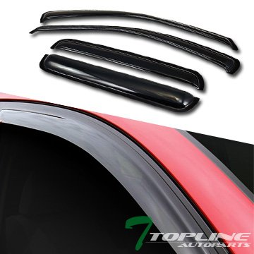 Topline Autopart Sun Wind Rain Guard Vent Shade Smoke Deflectors Window Visors 4P For 99-04 Jeep Grand Cherokee