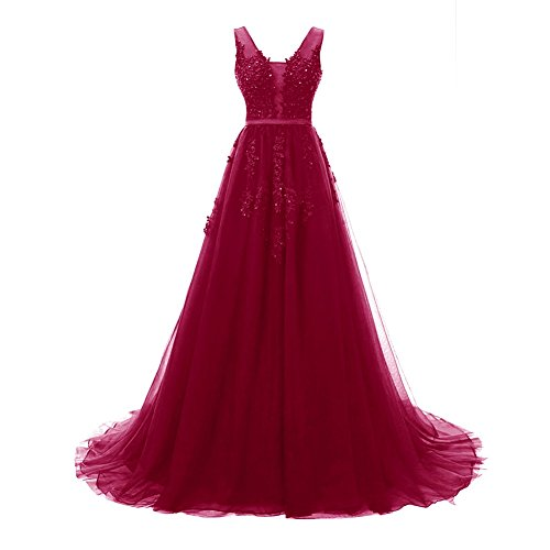 Bess Prom Dresses V Bridal Women Evening Formal Tulle Backless Burgundy s Elegant Lace ZZrzXP