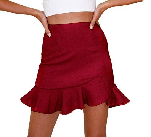 JackenLOVE t Femme Sexy Package Hanche Mini Jupes de Fte Soire Fashion Couleur Unie C?t Feuille de Lotus Irregulier Jupe de Plage Rouge