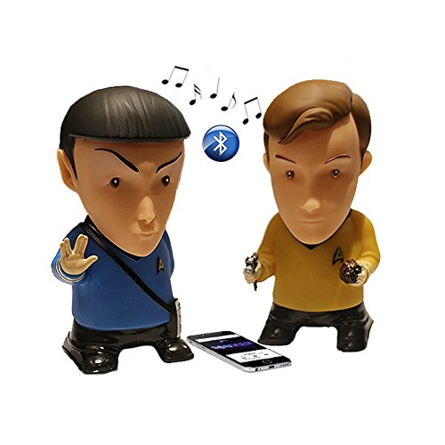 Communicator Badge (Star Trek Gifts Action Figure | Kirk and Spock Portable Bluetooth Speakers (Set of Two) - Plays Music & Speaks | Original Series Toys Collectibles Figures - Great Unique Gift for Men Dad Geek Fans)