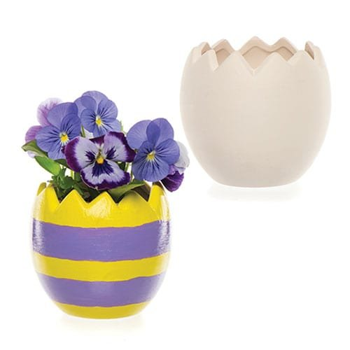 Easter Egg Ceramic Plant Pots for Children Paint Your Own Ceramic Decoration to Display as Spring Crafts (Box of 4)