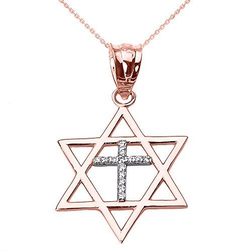Collier Femme Pendentif 10 Ct Or Rose Étoile De David avec Diamant Croix (Livré avec une 45cm Chaîne)