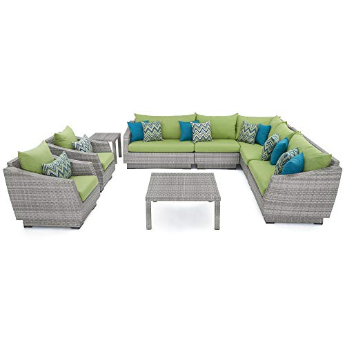RST Brands Cannes 9-Piece Corner Sectional and Club Chair Seating Group with Cushions, Ginkgo Green