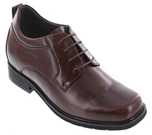 Calto T52713-3.2 Pouces Taller - Hauteur Augmentant Les Chaussures Dascenseur - Chaussures Habillées En Cuir Marron Foncé
