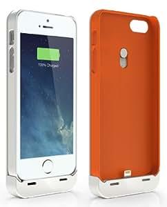 Jackery Leaf Premium iPhone SE Charger Case Power Bank for iPhone SE, iPhone 5s and iPhone 5 (White & Orange)