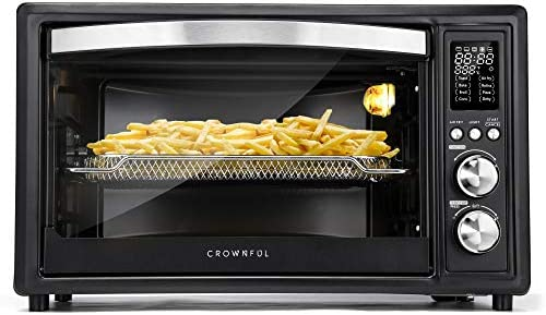 CROWNFUL Air Fryer Toaster Oven, 32 Quart Convection Roaster with Rotisserie & Dehydrator Combo, Accessories and Recipe Included, ETL Listed (Black)