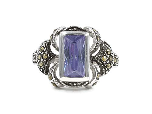 (Glamour Rings Rectangle Lavender Cubic Zirconia Silvertone Fashion Ring in Fleur d'lis Style and Marcasite Size 5)
