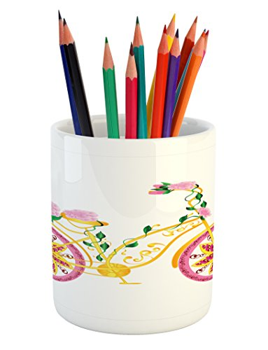 Ambesonne Bicycle Pencil Pen Holder, Fantasy Bike with Exotic Swirling Floral Detail on the Seat and Tires Hippie Image, Printed Ceramic Pencil Pen Holder for Desk Office Accessory, Pink Yellow