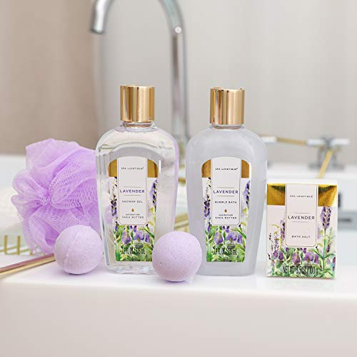 Spa Luxetique Spa Gift Baskets for Women, Lavender Bath Sets for Women, Luxury 8 Pcs Home Bath Gift Set Includes Body… 6
