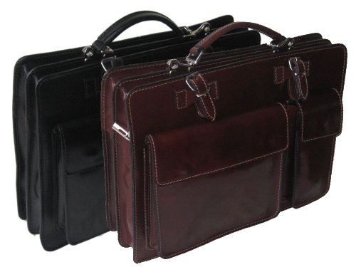 Hand Made Briefcase Cowhide Classic Giglio Tan Tablet Vacchetta And Italian Style In Italy Document Crafted Strap With Black Leather Unisex xwIxPf6Bq