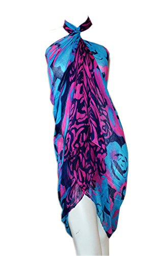 SCARF_TRADINGINC® Rose Chiffon Pareo Scarf Wrap Shawl Sarong Swimsuite Cover-up (Rose Blue)