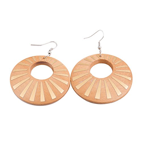 - Big Wood Earrings for Women EVBEA Religious Bling Spikes Circle Wooden Earrings(216,YL)