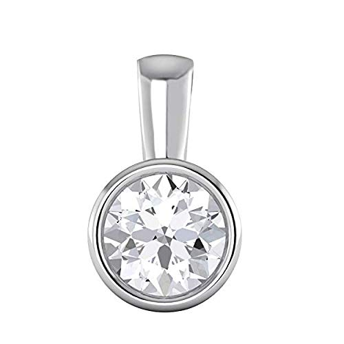 14K White Gold Over 0.50CT Round Brilliant Cut Bezel Set Highest Quality Moissanite VVS-VS Solitaire Pendant For Women