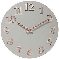 Infinity Instruments Vogue Modern Grey Rose Gold Wall Clock Decorative Girls Wall Clock, 12 inch
