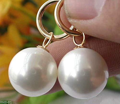 Huge 14MM Natural White South Sea Shell Pearl 14K Gold Plated Dangle Earrings -