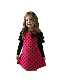 Sumen Kids Baby Girls Polka Dot Bow O-Neck Long Sleeve Princess Dress