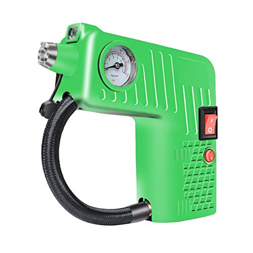 ZYR Multi-Function Car Inflator, Tire Pressure Gauge, Tire Repair Tool Air Pump, Portable Air Pump, SOS, Safety Hammer, Lighting,Green