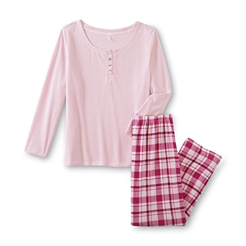 Womens Pink K Fleece Henley Shirt & Pants Pajamas