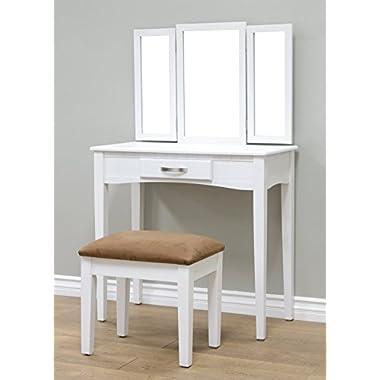 Frenchi Home Furnishing 2 Piece Home Furnishing Stool Set & Vanity, White