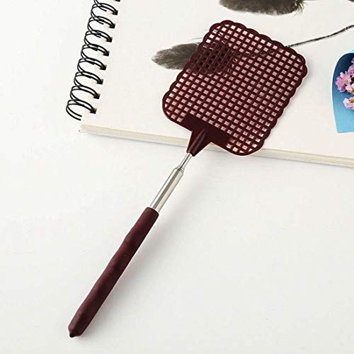 izasky Extendable Fly Swatter - Flies Swatter Plastic Durable Telescopic Mosquito Zapper Bug Killer Surface Long Handle and Anti Slip Grip Portable to Be Your Travel Partner (Brown)