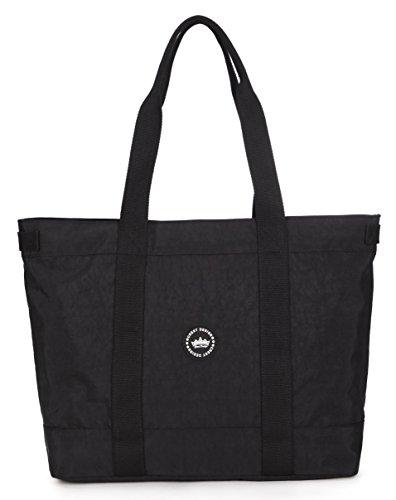 Crest Design Women handbag Tote Shoulder Bag for Laptops up to 17 inch (X-Large, Black)