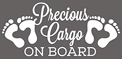 "Precious Cargo on Board (BLACK) Car Styling vinyl stickers decals car accessories 3 1/2 x 8"" Shipped from USA"