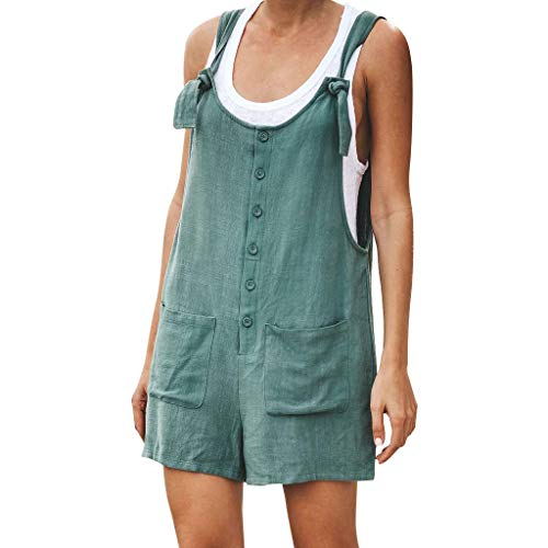 - Women Casual Button Jumpsuit Linen Vintage Strappy Strap Rompers with Pockets Holiday Short Pants Beach Playsuit Green
