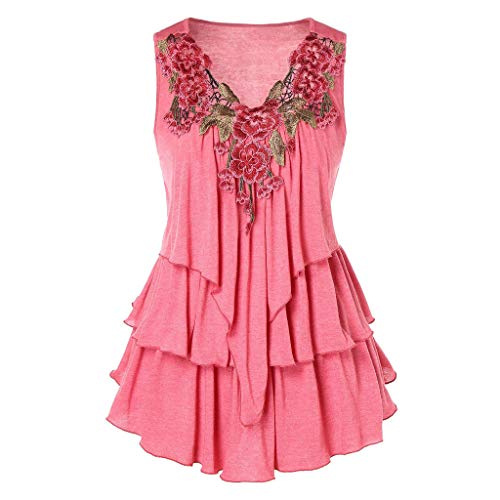 - MURTIAL Womens Vest Fashion Sleeveless Embroidered Layered Tank Top Casual Shirts Blouse(Pink,L)
