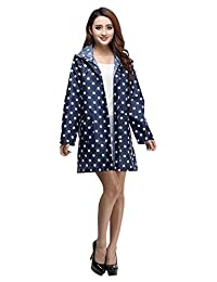 Drasawee Women's Midi Hooded Waterproof Polka Dot Rain Coat Jacket