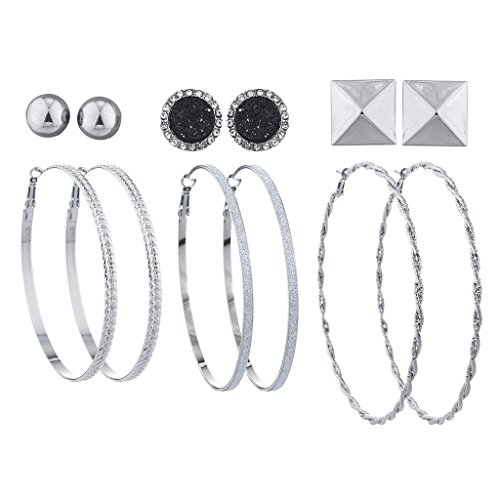 Lux Accessories Silvertone Hoop and Stud Multi Earring Set Pyramid Druzy (6pcs) - Trio Hoop Earrings Set