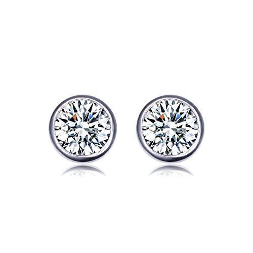Amazon Lightning Deal 97% claimed: UMODE Jewelry 2*1 Carat Round Cut Clear Cubic Zirconia CZ Bezel Set Solitaire Stud Earring for Woman 0.3""