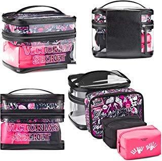 Victoria's Secret Train Case Travel Tote Clear Graffiti 4 Piece Set