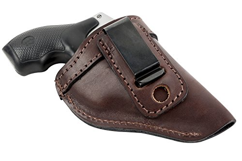 (The Defender Leather IWB Holster - Fits Most J Frame Revolvers Incl. Ruger LCR, S&W 442/642, Taurus, Charter & Most .38 Special Revolvers - Made in USA - Brown - Right Handed )