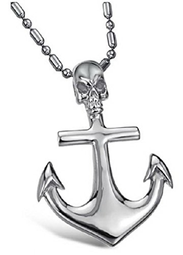 Price comparison product image JSDY Mens Stainless Steel Skull Cross Anchor Pendant Unique Necklace Jewelry