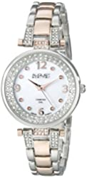 August Steiner Women's AS8137TTR Round Mother of Pearl Dial Three Hand Quartz Movement Two Tone White Bracelet Watch