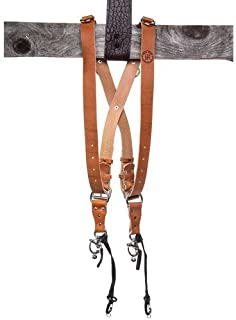 product image for HoldFast Gear MoneyMaker Two-Camera Harness on Shoulders, Bridle Leather, Medium, Tan (without D Rings)