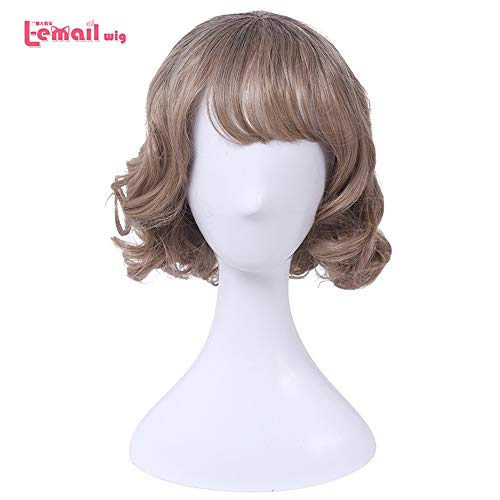 loyasun Wig Cosplay Party Costume Soft Synthetic Unisex Thin Air Fringe Bang Wigs Short Curly Heat Resistant Synthetic Hair Perucas 12