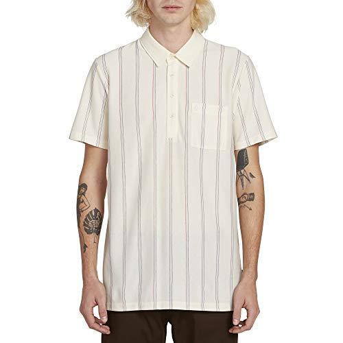 (Volcom Men's Cylis Striped Polo Short Sleeve Shirt, White Flash Medium)