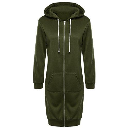 ong Hoodies Sweatshirt Coat Zip Up Outerwear Hooded Jacket Maxi Cardigan ()