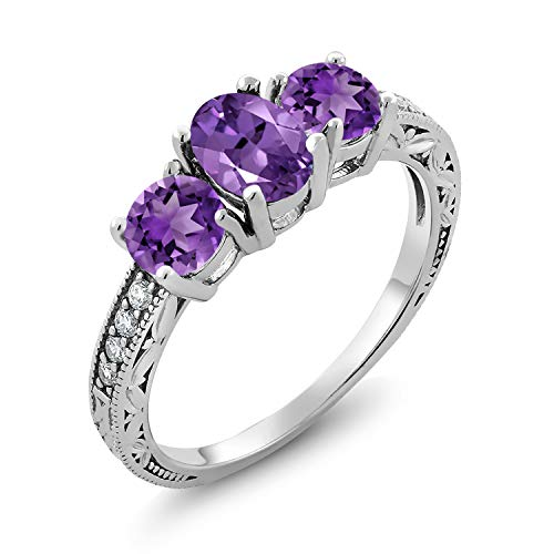 Gem Stone King 925 Sterling Silver Purple Amethyst Women's 3-Stone Ring 1.77 Ct Oval Gemstone Birthstone (Size 7)