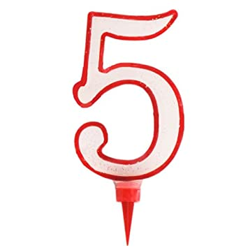 NUMBERED BIRTHDAY CANDLE NUMBER FIVE GIANT RED GLITTER Amazoncouk Electronics